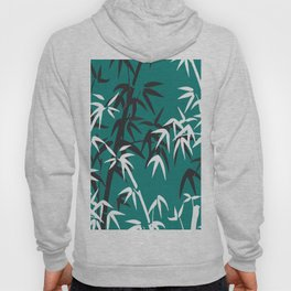 Bamboo Leaves White - black turquoise background Hoody