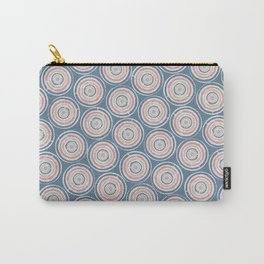 Paint Can Circles Geometric Texture Pattern Blue Coral Beige Carry-All Pouch