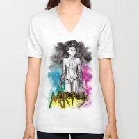 metropolis V-neck T-shirts featuring METROPOLIS by Dianah B