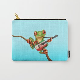 Tree Frog Playing Acoustic Guitar with Flag of Iran Carry-All Pouch