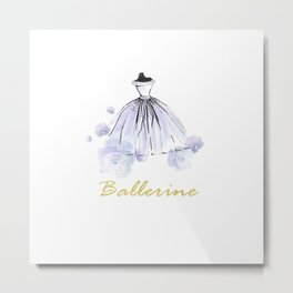 Blue Ballerina Dress Metal Print
