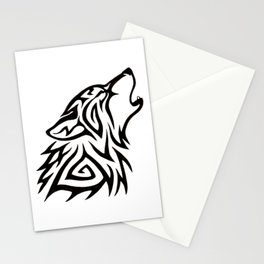 Tribal Wolf Howl Stationery Cards