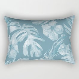 Tropical Escape Teal Blue Leaves + Hibiscus Rectangular Pillow