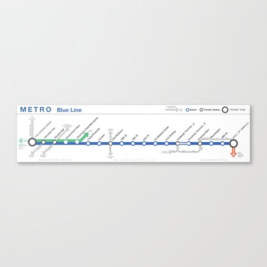 Twin Cities METRO Blue Line Map Canvas Print