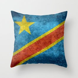 National flag of the Democratic Republic of the Congo, Vintage version (to scale) Throw Pillow