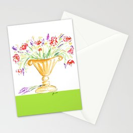 Whimsical flowers in an urn Stationery Cards