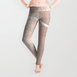 RoseGold on White London Street Map II Leggings