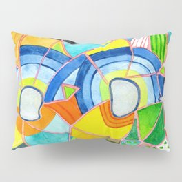 Happy Pattern with two Half Circles and one single Flower Pillow Sham
