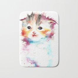 Happy Cat Watercolor Bath Mat