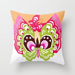 Cute Rice Paper Painted Butterfly Throw Pillow