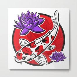 Carp koi with water lilies Metal Print