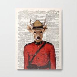 Royal Canadian Mounted Deer, Royal Canadian Mounted Police, Deer, page book art print, Wall art Metal Print