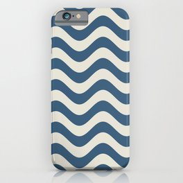 Blue & Linen White Wavy Line Pattern Pairs To 2020 Color of the Year Chinese Porcelain iPhone Case
