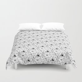 Cryptid Lineart Pattern 2 (White) Duvet Cover