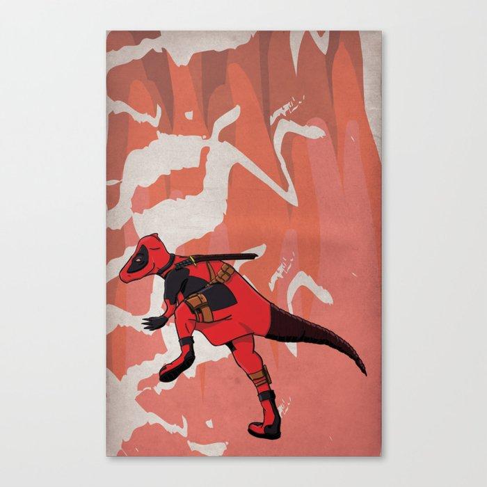 Deadpachycepoolosaurus - Superhero Dinosaurs Series Canvas Print
