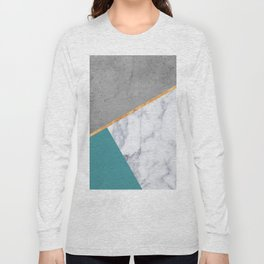 MARBLE TEAL GOLD GRAY GEOMETRIC Long Sleeve T-shirt