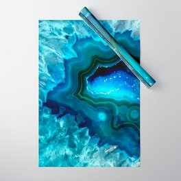 Teal Blue Agate II Wrapping Paper