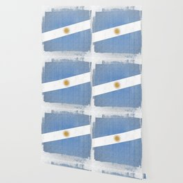Argentina Distressed Halftone Denim Flag Wallpaper