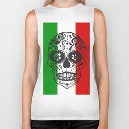 Mexican Skull With Italian Flag Biker Tank