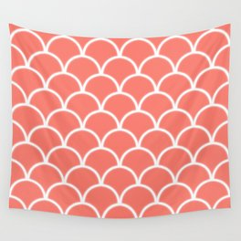 Large scallop pattern in peach echo with glow Wall Tapestry