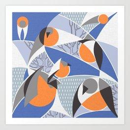 Birds bullfinches in blue, grey and orange colors Art Print