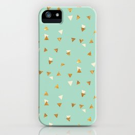 Pastel green ivory faux gold glitter abstract triangles iPhone Case