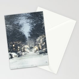 Montreal Snowy winter street Stationery Cards