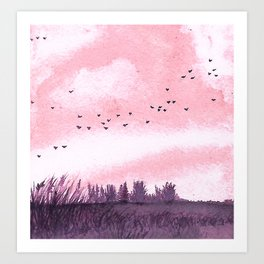 Pink and purple emotion colour landscape, English countryside landscape Art Print