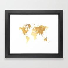 Textured Gold Map Framed Art Print