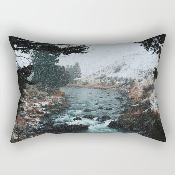 Rustic Creek in snow Rectangular Pillow