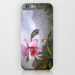Martin Johnson Heade - Orchid And Hummingbird Near A Mountain Waterfall - Humming Birds iPhone Case
