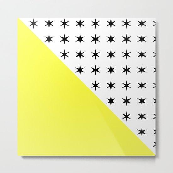 Black Stars And Sunshine Yellow - Colourful pattern Metal Print