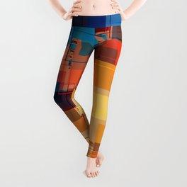 Multi color Square Geometrical Overlays Leggings