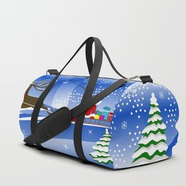 Santa Claus with christmas deer and presents Duffle Bag