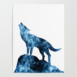 Howling Wolf blue sparkly smoke silhouette Poster