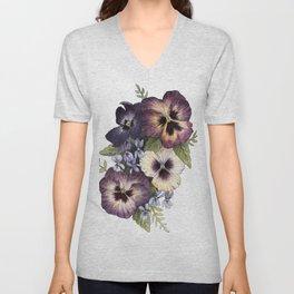 Watercolor Pansy Bouquet Unisex V-Neck