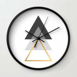 Triangles art, Black, white and gold Wall Clock