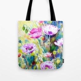 Watercolor purple poppies Tote Bag