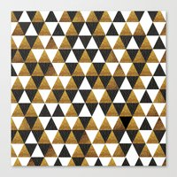 black and gold Canvas Prints featuring Black/Gold by T.Fischer