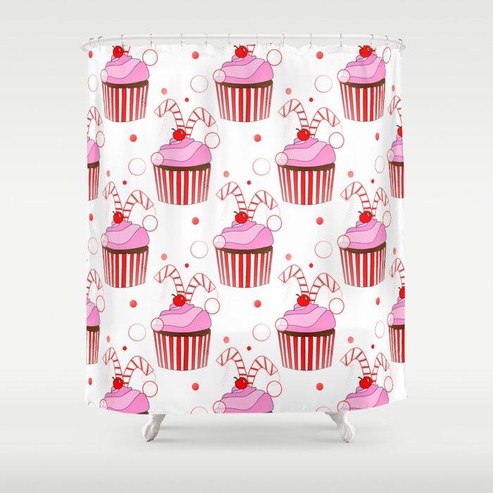 Ordinaire Christmas Cupcakes Shower Curtain