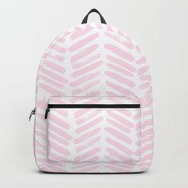 Handpainted Chevron pattern light pink stripes Backpack