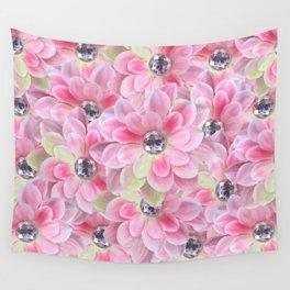 Shocking Pink Flora Gems Wall Tapestry