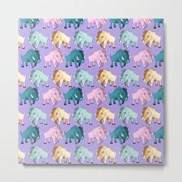 Cute Purple Kawaii Wild Boar Watercolor Pattern Print Metal Print