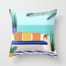 Tropical Villa On The Sea Throw Pillow