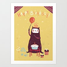 Happy birthday purple monster! Art Print
