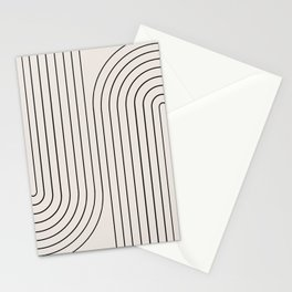 Minimal Line Curvature - Black and White I Stationery Cards