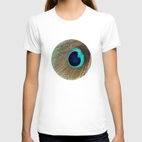 peacock feather T-shirts featuring Peacock feather by Hannah