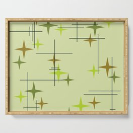 Mid Century Modern Stars Chartreuse Serving Tray