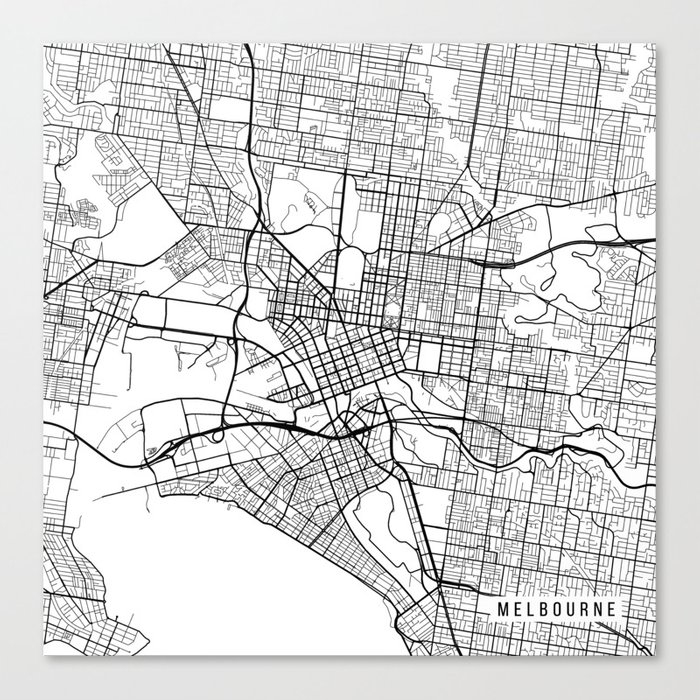 Melbourne Map Australia.Melbourne Map Australia Black And White Canvas Print By Mainstreetmaps