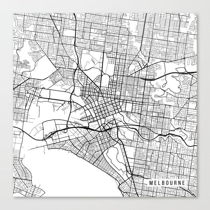 Australia Map Black And White.Melbourne Map Australia Black And White Canvas Print By Mainstreetmaps